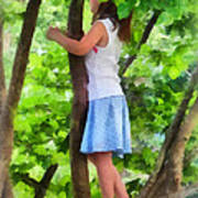Little Girl Playing In Tree Poster