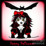 Little Goth Halloween Girl Poster