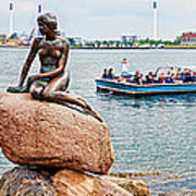 Little Mermaid Statue With Tourboat Poster
