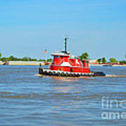 Little Red Boat On The Mighty Mississippi Poster