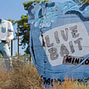 Live Bait Sign And Muffler Man Statue Poster