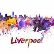 Liverpool Skyline In Watercolor Poster