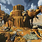 Living Fossils In A Desert Landscape Poster