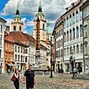 Ljubljana Town Square Poster