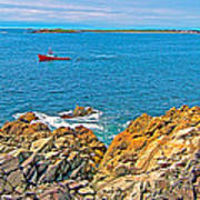 Lobster Boat Checking Traps In Louisbourg Bay-ns Poster