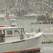 Snowy Lobster Boats Poster