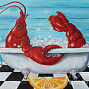 Lobster Bubble Bath Poster