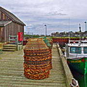 Lobster Fishing Baskets And Boats By A Dock In Forillon Np-qc Poster