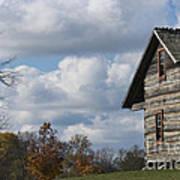 Log Cabin And November Sky Poster