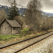 Log Cabin And Railroad Tracks Poster