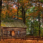 Log Cabin In Autumn Color Poster