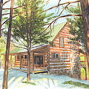 Log Cabin In The Woods Watercolor Portrait Poster