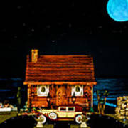 Log Cabin Scene With Old Time Vintage Classic 1930 Packard Labaron In Color Poster