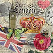 London England Vintage Travel Collage  Poster