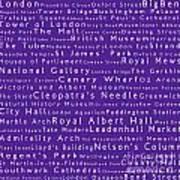 London In Words Purple Poster