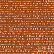 London In Words Toffee Poster