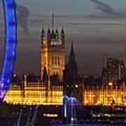 London Night Skyline Cityscape Poster