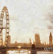 London Skyline At Dusk 01 Poster