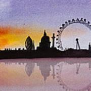 London Skyline At Sunset Poster