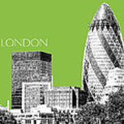 London Skyline The Gherkin Building - Olive Poster