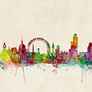 London Skyline Watercolour Poster by Michael Tompsett
