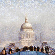 London St Pauls In The Fog Poster by Pixel  Chimp