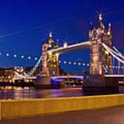 London Tower Bridge By Night Poster