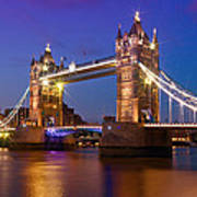 London - Tower Bridge During Blue Hour Poster