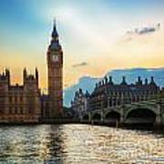 London Uk Big Ben The Palace Of Westminster At Sunset Poster