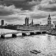 London Uk Big Ben The Palace Of Westminster In Black And White Poster