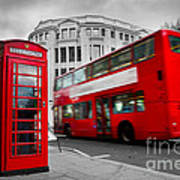 London Uk Red Phone Booth And Red Bus In Motion Poster