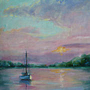 Lone Boat At Sunset Poster