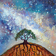 Lone Tree And Milky Way Poster