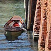 Lonely Boat In Venice Poster