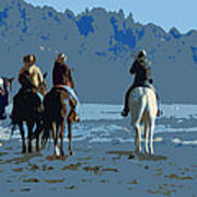 Long Beach Horses Study Poster