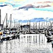 Long Beach Marina / Colored Pencil Effect Poster