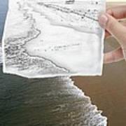 Long Beach Shoreline / Torn Sketch Effect Poster