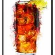 Long Island Iced Tea Cocktail Marker Sketch Poster