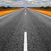Long Straight Road With Gathering Storm Clouds Poster by Colin and Linda McKie