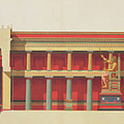Longitudinal Section Of The Temple Poster
