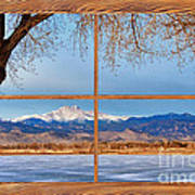 Longs Peak Across The Lake Barn Wood Picture Window Frame View Poster