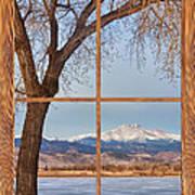 Longs Peak Winter Lake Barn Wood Picture Window View Poster