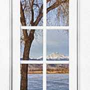 Longs Peak Winter View Through A White Window Frame Poster