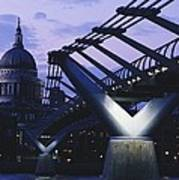Looking Along The Millennium Bridge Poster