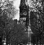 looking down Kurfurstendamm towards Kaiser Wilhelm Gedachtniskirche memorial church Berlin Germany Poster by Joe Fox