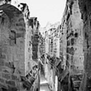 Looking Down On Internal Walkways From Upper Tier Of Old Roman Colloseum El Jem Tunisia Poster