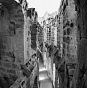 Looking Down On Internal Walkways From Upper Tier Of Old Roman Colloseum El Jem Tunisia Vertical Poster