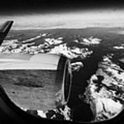 Looking Out Of Aircraft Window Over Snow Covered Fjords And Coastline Of Norway Europe Poster by Joe Fox