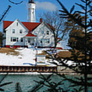 Looking Through The Pines - Sturgeon Bay Coast Guard Station Poster