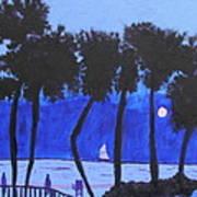 Looming Shore At Night Poster